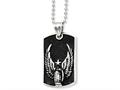 Chisel Stainless Steel Antiqued Wings Dog Tag Pendant Necklace