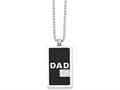 Chisel Stainless Steel Black-plated and CZ Dad Dog Tag Necklace