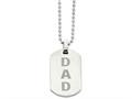 Chisel Stainless Steel Enamel Dad  Dog Tag Necklace