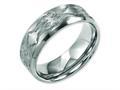 Chisel Titanium Beveled Edge 8mm Laser Design Brushed and Polished Wedding Band