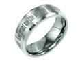 Chisel Titanium Beveled Edge 8mm Laser Design Brushed and Polished Wedding Band