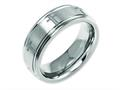 Chisel Titanium Ridged Edge 8mm Laser Design Brushed and Polished Weeding Band