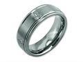 Chisel Titanium Ridged Edge 8mm Laser Design Brushed and Polished Wedding Band