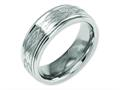 Chisel Titanium Ridged Edge 8mm Laser Design Brushed and Polished Wedding Band