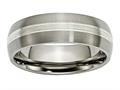Chisel Titanium Grooved 7mm Sterling Silver Inlay Brushed/polished Weeding Band