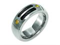 Chisel Titanium Grooved Black and Yellow Ip-plated 8mm Brushed Wedding Band