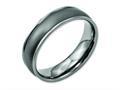Chisel Titanium Ridged Edge 6mm Satin And Polished Wedding Band