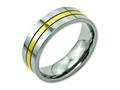 Chisel Titanium Yellow Ip-plated Grooved 7mm Polished Wedding Band