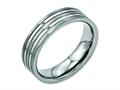 Chisel Titanium Grooved 6mm Brushed And Polished Wedding Band