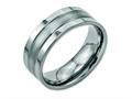 Chisel Titanium Grooved 8mm Brushed And Polished Wedding Band