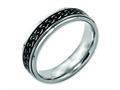 Chisel Titanium Ridged Edge Black Enamel Braid Design 6mm Polished Wedding Band