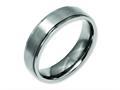 Chisel Titanium Ridged Edge 6mm Brushed And Polished Wedding Band