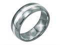 Chisel Titanium Sterling Silver Inlay 8mm Polished Wedding Band