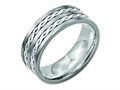 Chisel Titanium Sterling Silver Braided Inlay 8mm Brushed And Antiqued Wedding Band