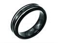 Chisel Titanium Black Ip-plated Grooved 7mm Wedding Band