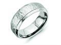 Chisel Titanium 8mm Beveled Edge Hammered And Polished Wedding Band