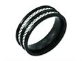 Chisel Titanium 8mm Black Ip-plated With Carbon Fiber Inlay Polished Wedding Band
