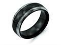 Chisel Titanium Black Ti Grey Edge 8mm Polished Wedding Band