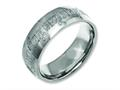 Chisel Titanium 8mm Laser Design Polished Wedding Band