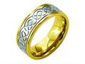 Chisel Titanium Scroll Design Yellow Ip-plated Grooved Edge Wedding Band