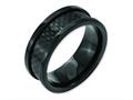 Chisel Titanium 9mm Black Ip-plated W/carbon Fiber Inlay Polished Wedding Band