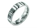 Chisel Titanium 6mm Grooved Satin And Polished Wedding Band