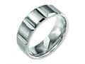 Chisel Titanium 8mm Grooved Satin and Polished Wedding Band