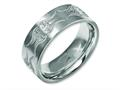 Chisel Titanium Flat 8mm Laser Design Brushed Wedding Band