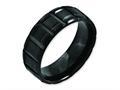 Chisel Titanium Notched Black Ip-plated 8mm Brushed And Polished Wedding Band