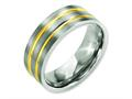 Chisel Titanium Grooved Yellow Ip-plated 8mm Brushed and Polished Wedding Band