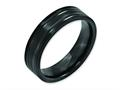 Chisel Titanium Grooved Black Ip-plated 6mm Brushed And Polished Wedding Band
