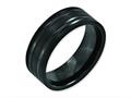 Chisel Titanium Grooved Black Ip-plated 8mm Brushed And Polished Wedding Band