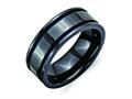 Chisel Titanium Black Ti With Blue Anodized Grooves 8mm Polished Wedding Band