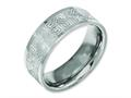 Chisel Titanium Flat 8mm Laser Design Polished Wedding Band