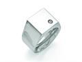 Chisel Titanuim Polished CZ Signet Ring