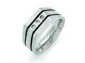 Chisel Titanium Brushed And Polished Black Ip-plated CZs Ring