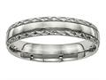 Chisel Titanium Polished Grooved Criss Cross Design Ring