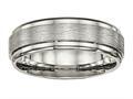 Chisel Titanium Brushed And Polished Ridged Edge Ring