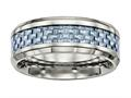 Chisel Titanium Polished Blue Carbon Fiber Inlay Ring