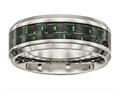 Chisel Titanium Polished Black/green Carbon Fiber Inlay Ring