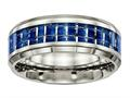 Chisel Titanium Polished Blue/white Carbon Fiber Inlay Ring