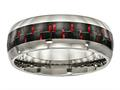 Chisel Titanium Polished Black/red Carbon Fiber Inlay Ring