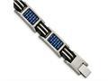 Chisel Titanium Polished W/ Blue Carbon Fiber and Rubber Bracelet