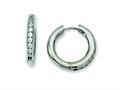 Chisel Titanium CZ Hinged Hoop Earrings