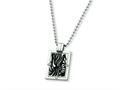 Chisel Titanium with Black Enamel and Diamond Necklace - 24 inche Stainless steel chain