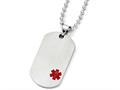Chisel Titanium Medical Jewelry Dog Tag Pendant Necklace 22 Inch Stainless steel chain