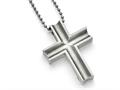 Chisel Titanium Polished Cross Necklace 24 inch Stainless steel chain