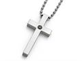 Chisel Titanium Polished 1/2pt. Diamond Cross Necklace