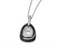Chisel Polished Ceramic With CZ Titanium Pendant On Steel Necklace