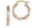 14k Tri-color Satin Twisted Hoop Earrings